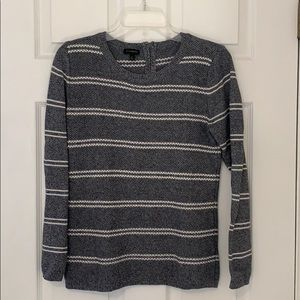Talbots striped long sleeves top with zipper